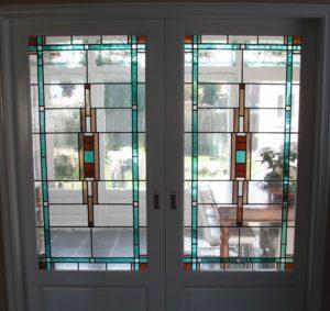 restauratie kamer en suite deuren glas in lood